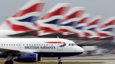 A British Airways flight lands at Heathrow
