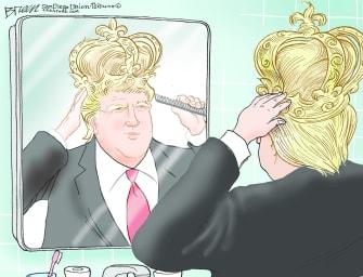 Political Cartoon U.S. Trump Throne
