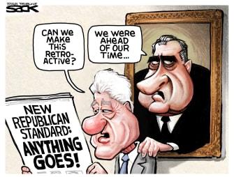 Political Cartoon U.S. Trump Bill Clinton Richard Nixon Republicans double standards presidency