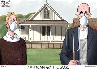 Editorial Cartoon U.S. American Gothic Grant Wood Coronavirus social distancing face masks art