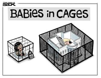 Political Cartoon U.S. Trump bunker immigrant cages