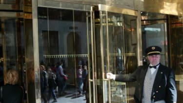 The entrance to Trump Tower.