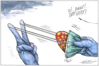 Political Cartoon U.S. Trump Easter COVID-19 pandemic egg face mask