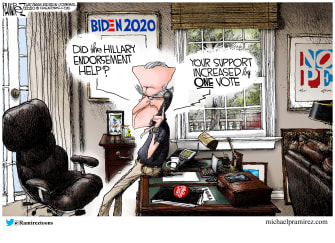 Political Cartoon U.S. Biden Hillary Clinton endorsement