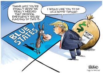 Political Cartoon U.S. Trump Blue States quid pro quo wages sanctuary cities