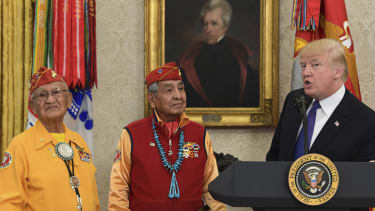 Donald Trump meets with Native Americans who served in World War II.