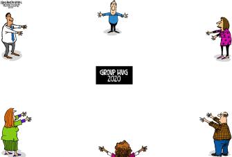 Editorial Cartoon World group hug coronavirus social distancing