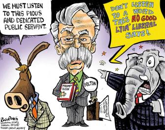 Political Cartoon U.S. Trump John Bolton Democrats Republicans book contradictions narrative