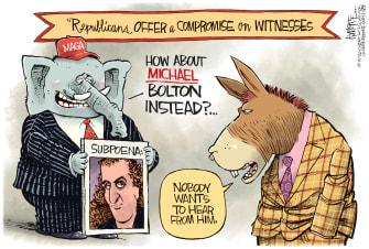 Political Cartoon U.S. John R. Bolton Republicans Democrats Michael Bolton impeachment senate trial subpeona