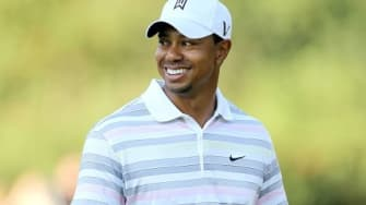 Tiger Woods at his first day back on the course.