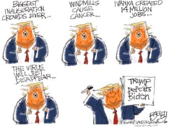 Political Cartoon U.S. Trump Biden victory 2020