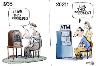 Political Cartoon U.S. fdr biden covid stimulus