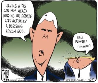 Political Cartoon U.S. Trump Pence fly COVID