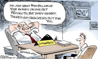 Political Cartoon U.S. Congress Coronavirus Stimulus Bill Checks