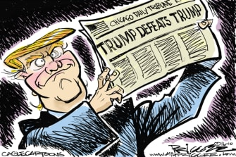 Political Cartoon U.S. Trump 2020 Win Defeat