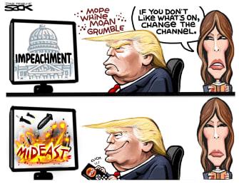 Political Cartoon U.S. Trump impeachment Iran Melania