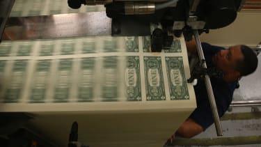 Dollar bills are printed