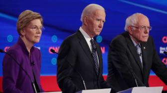 Joe Biden, Elizabeth Warren, and Bernie Sanders.
