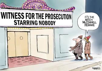 Political Cartoon U.S. Trump impeachment McConnell witnesses