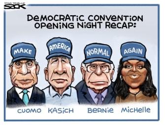 Political Cartoon U.S. DNC Cuomo Kasich Sanders Michelle Obama