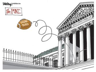 Political Cartoon U.S. Trump supreme court taxes punt