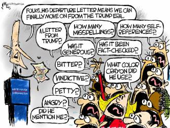 Political Cartoon U.S. Biden Trump media