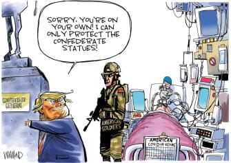 Political Cartoon U.S. Trump Afghanistan Russia bounty coronavirus confederate statues