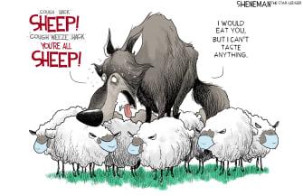 Editorial Cartoon U.S. wolf sheep covid