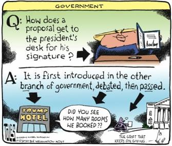 Political Cartoon U.S. Trump hotelsbills