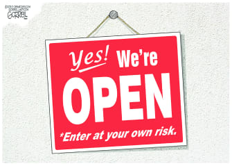Editorial Cartoon U.S. coronavirus reopening sign