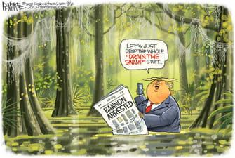 Political Cartoon U.S. Trump Bannon arrest drain the swamp