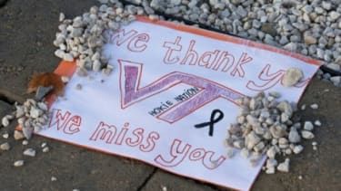 A memorial for Deriek Crouse: The Virginia Tech police officer was shot and killed on Thursday, in an attack that served as a painful reminder of the campus' tragic 2007 shooting rampage.