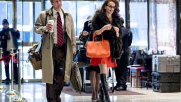 Rebekah Mercer in Trump Tower with Nick Ayers and Kellyanne Conway