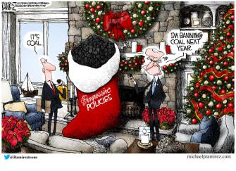 Political Cartoon U.S. Biden progressive policies coal