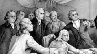 An illustration of John Hancock at the signing of the Declaration of Independence.