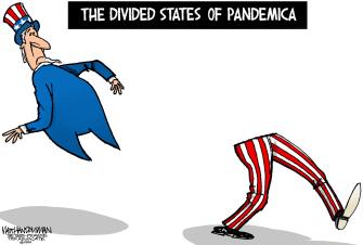 Political Cartoon U.S. Pandemic Division Partisanship Coronavirus COVID-19