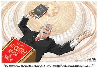 Political Cartoon U.S. Mcconnell senate filibuster