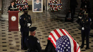 Ruth Bader Ginsburgs casket in the Capitol.