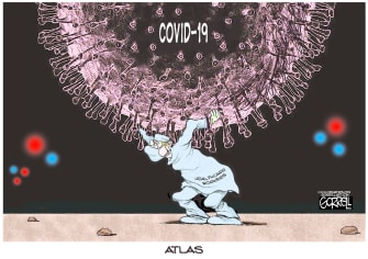 Editorial Cartoon U.S. Health workers carrying the coronavirus load Atlas