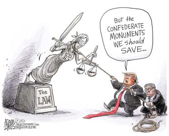 Political Cartoon U.S. Trump Barr DOJ statue