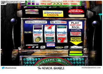 Political Cartoon U.S. Sanders jackpot Nevada gamble frontrunner 2020 election