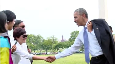 When do we get the outtakes from Obama's stroll through Washington?