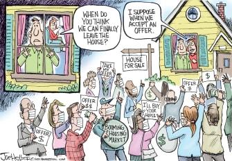 Editorial Cartoon U.S. covid housing market