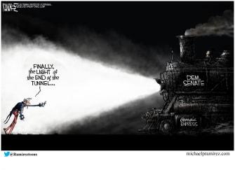 Political Cartoon U.S. Georgia Senate Democrats