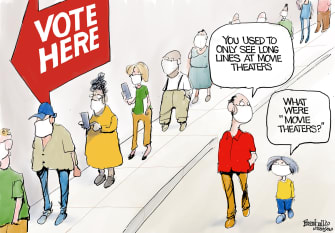 Editorial Cartoon U.S. voting lines COVID movie theaters