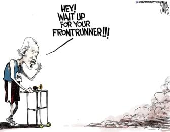 Political Cartoon U.S. Joe Biden Democrats 2020 election primaries race