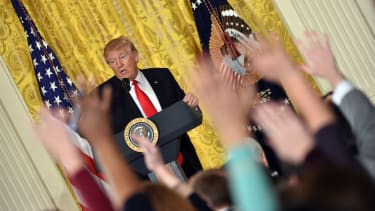 Donald Trump holds a solo press conference at the White House