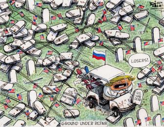 Political Cartoon U.S. Trump military suckers losers