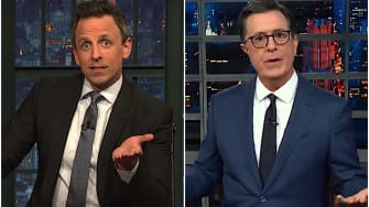 Stephen Colbert and Seth Meyers decry the drama