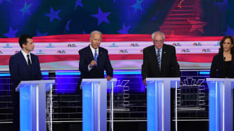 Pete Buttigieg, Joe Biden, Bernie Sanders, and Kamala Harris.